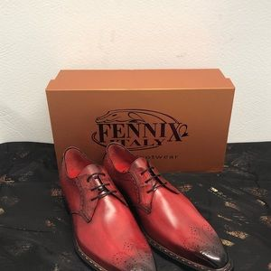 Fennix Italy shoes leather calf/alligator red